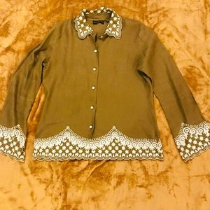Dana Buchman Linen Detailed Blouse Sz 10